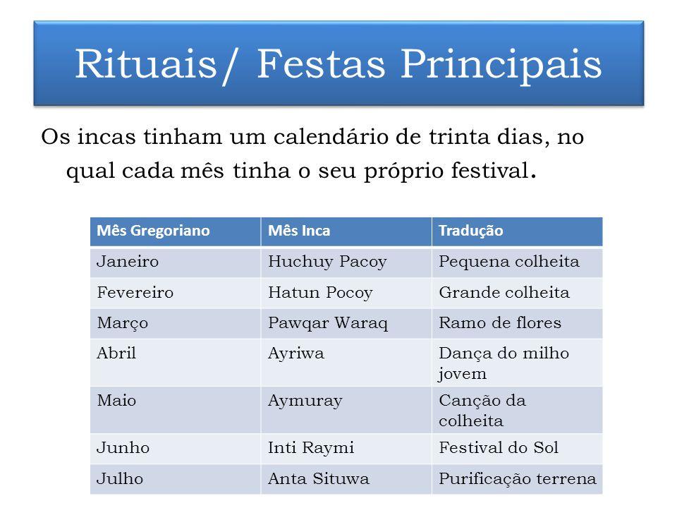 Rituais/ Festas Principais Os incas tinham um calendário de trinta dias, no qual cada mês tinha o seu próprio festival. Mês GregorianoMês IncaTradução