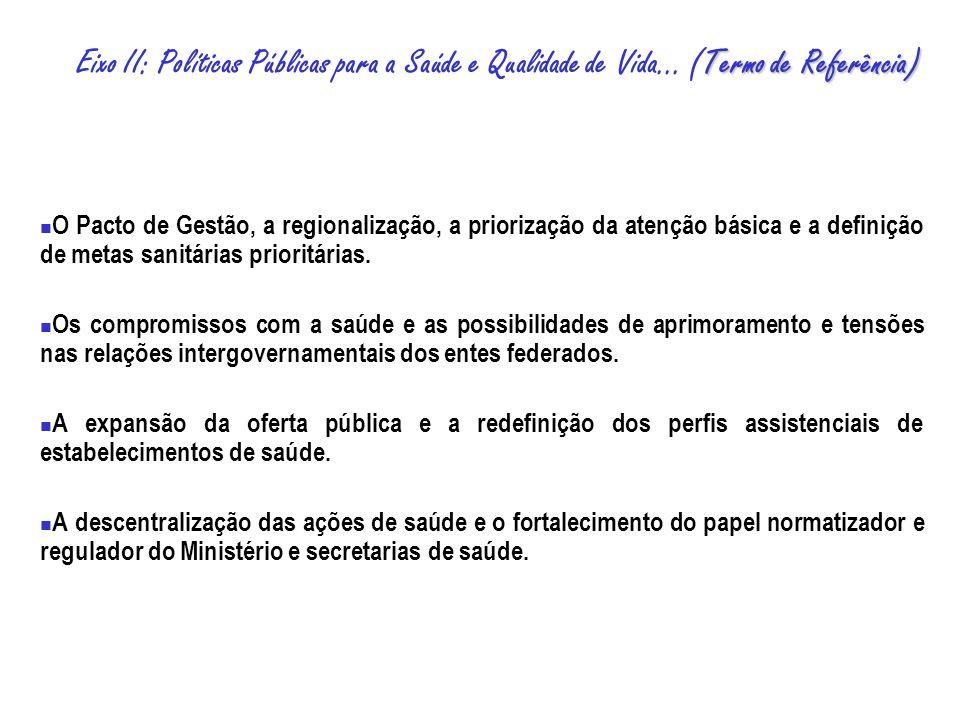 O Pacto de Gestão, a regionalização, a priorização da atenção básica e a definição de metas sanitárias prioritárias.