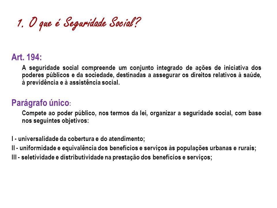 Art. 194: A seguridade social compreende um conjunto integrado de ações de iniciativa dos poderes públicos e da sociedade, destinadas a assegurar os d