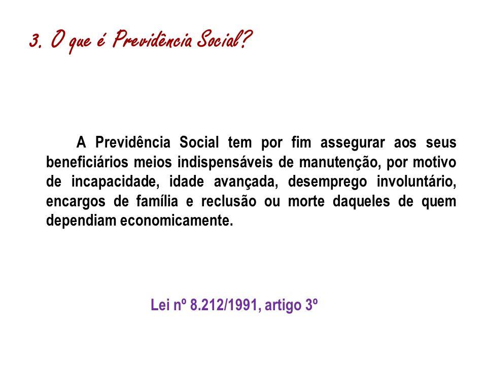 A Previdência Social tem por fim assegurar aos seus beneficiários meios indispensáveis de manutenção, por motivo de incapacidade, idade avançada, dese
