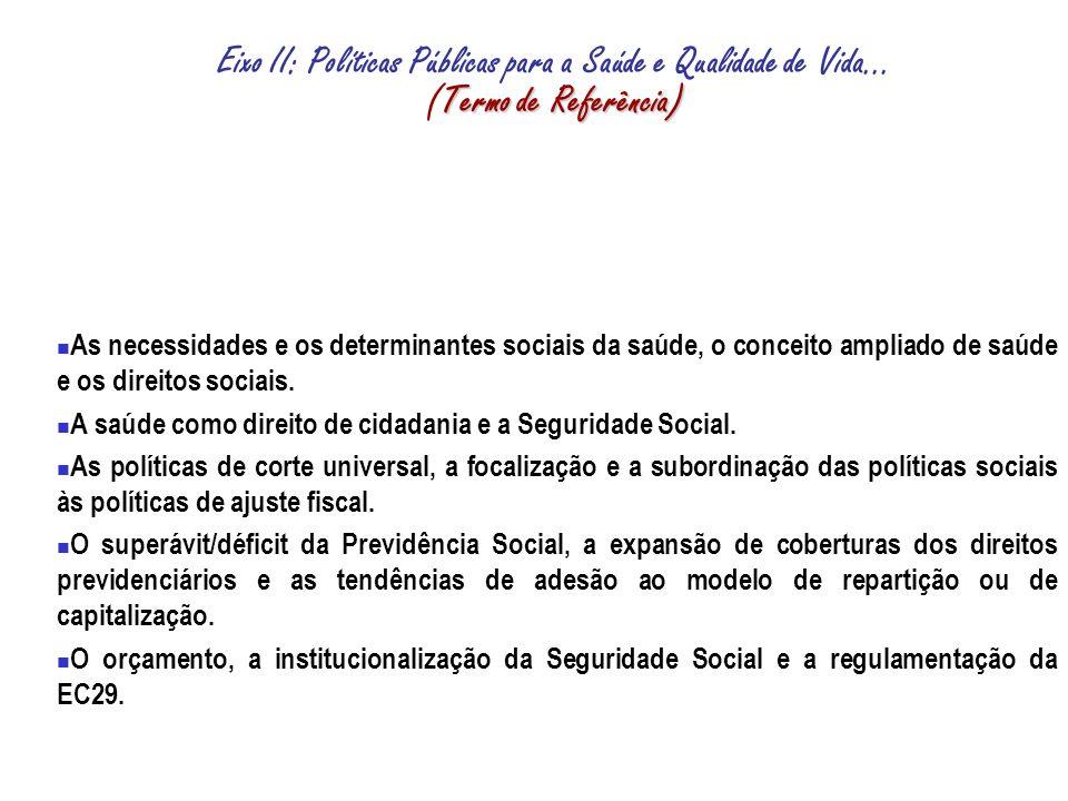 Termo de Referência) Eixo II: Políticas Públicas para a Saúde e Qualidade de Vida...