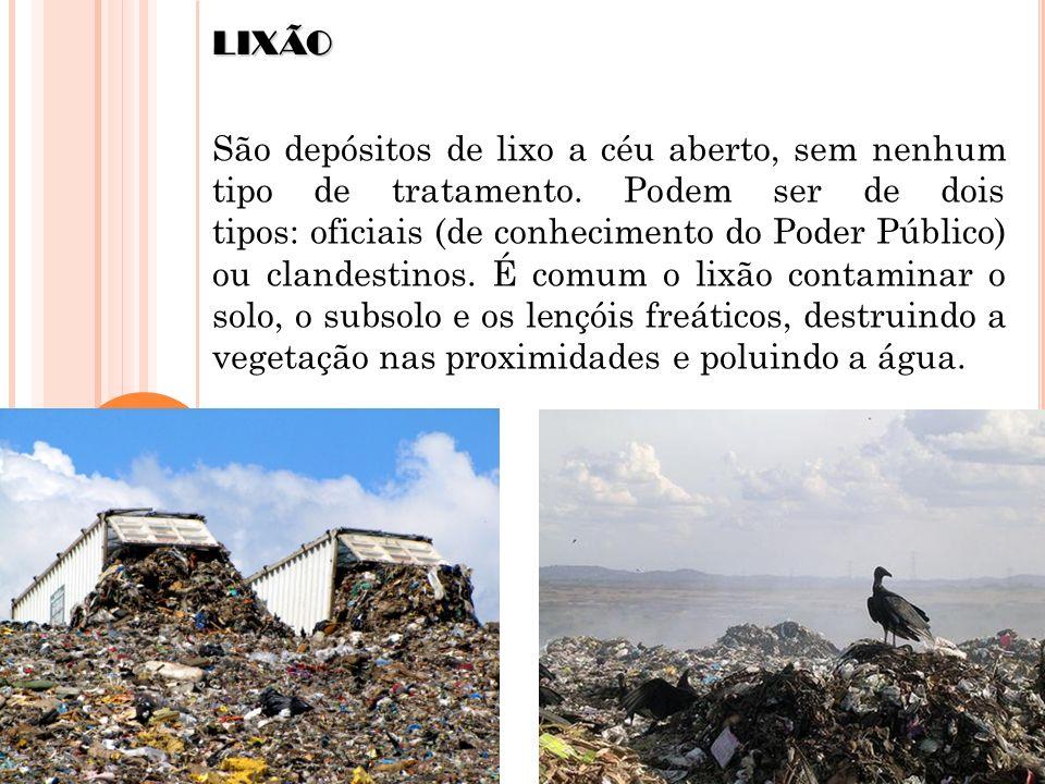 LIXÃO São depósitos de lixo a céu aberto, sem nenhum tipo de tratamento. Podem ser de dois tipos: oficiais (de conhecimento do Poder Público) ou cland