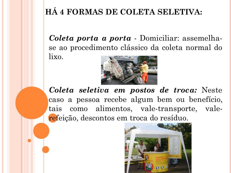 HÁ 4 FORMAS DE COLETA SELETIVA: Coleta porta a porta - Domiciliar: assemelha- se ao procedimento clássico da coleta normal do lixo. Coleta seletiva em