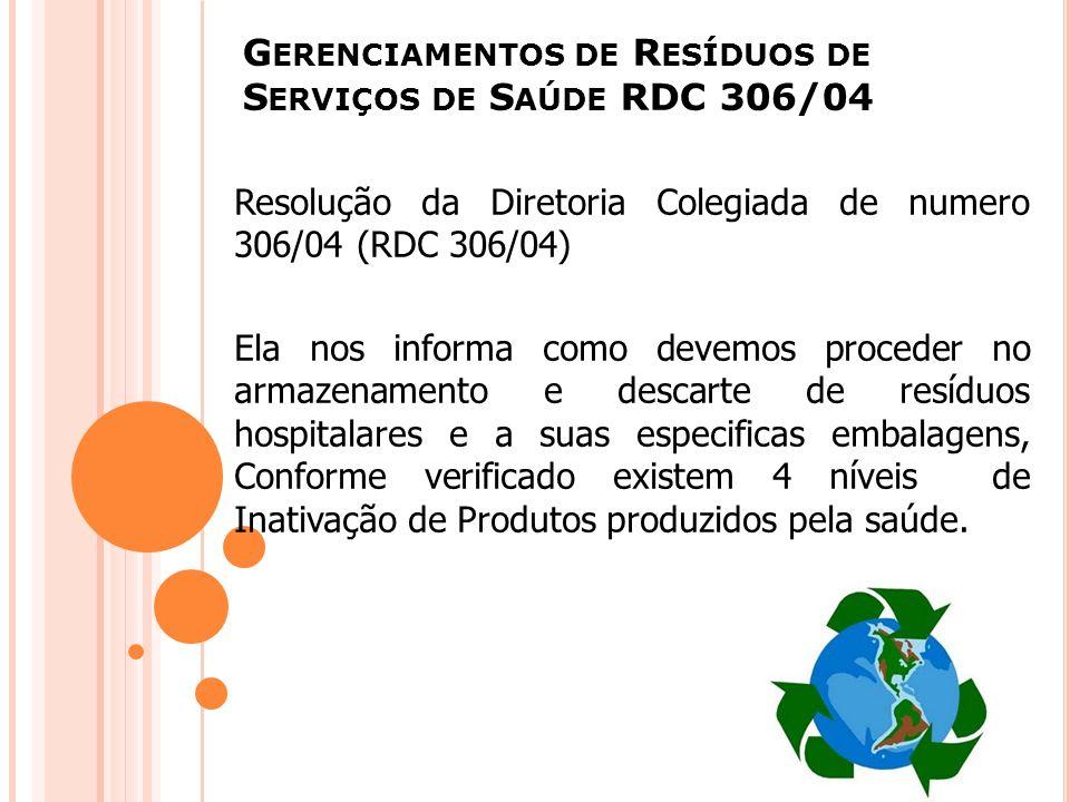 G ERENCIAMENTOS DE R ESÍDUOS DE S ERVIÇOS DE S AÚDE RDC 306/04 Resolução da Diretoria Colegiada de numero 306/04 (RDC 306/04) Ela nos informa como dev