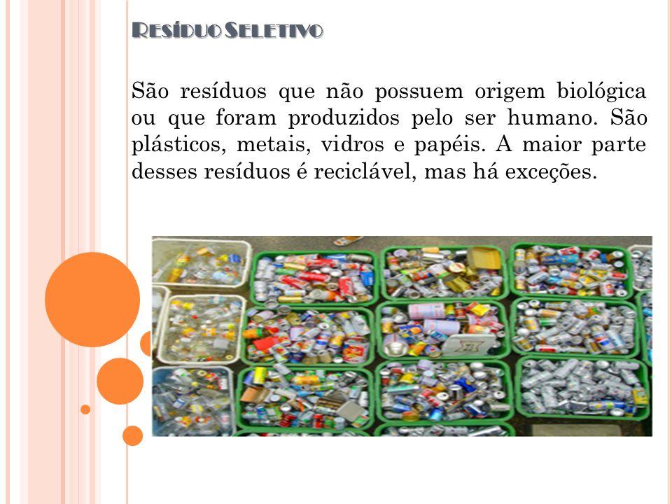 R ESÍDUO S ELETIVO São resíduos que não possuem origem biológica ou que foram produzidos pelo ser humano. São plásticos, metais, vidros e papéis. A ma