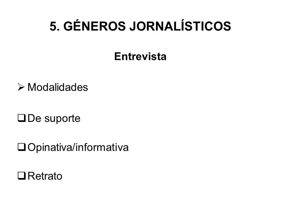 5. GÉNEROS JORNALÍSTICOS Entrevista Modalidades De suporte Opinativa/informativa Retrato