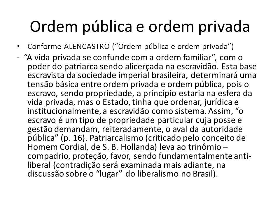 Ordem pública e ordem privada Conforme ALENCASTRO (Ordem pública e ordem privada) - A vida privada se confunde com a ordem familiar, com o poder do pa