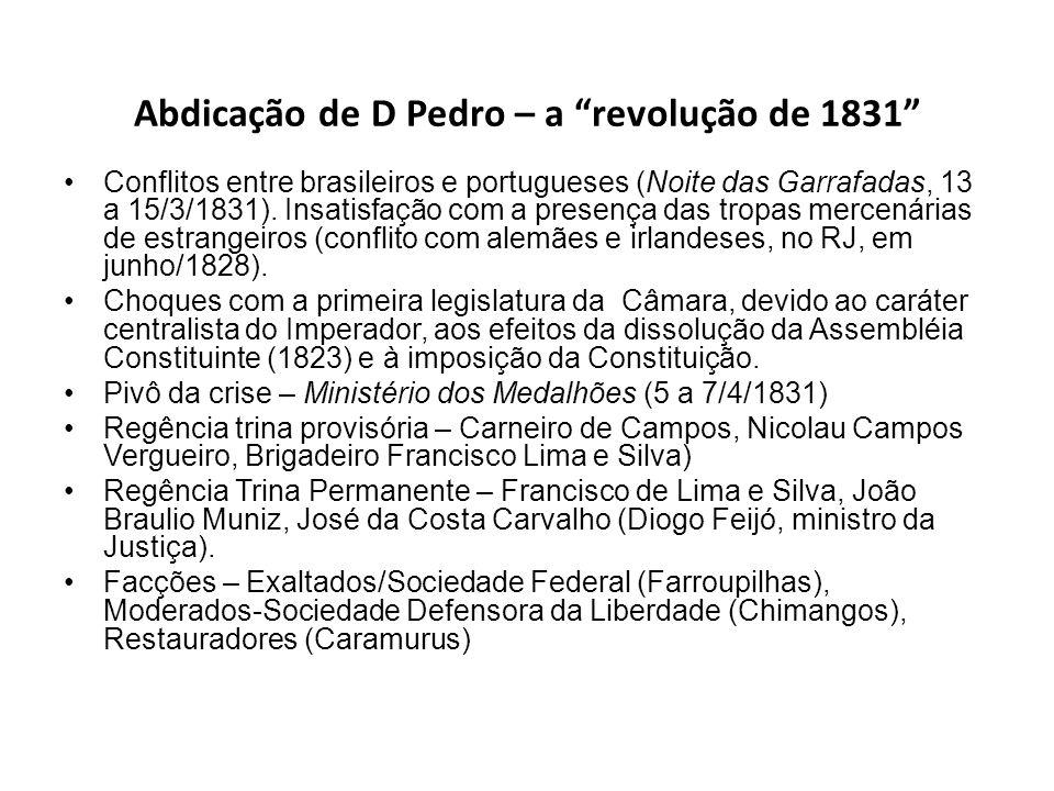 Abdicação de D Pedro – a revolução de 1831 Conflitos entre brasileiros e portugueses (Noite das Garrafadas, 13 a 15/3/1831). Insatisfação com a presen