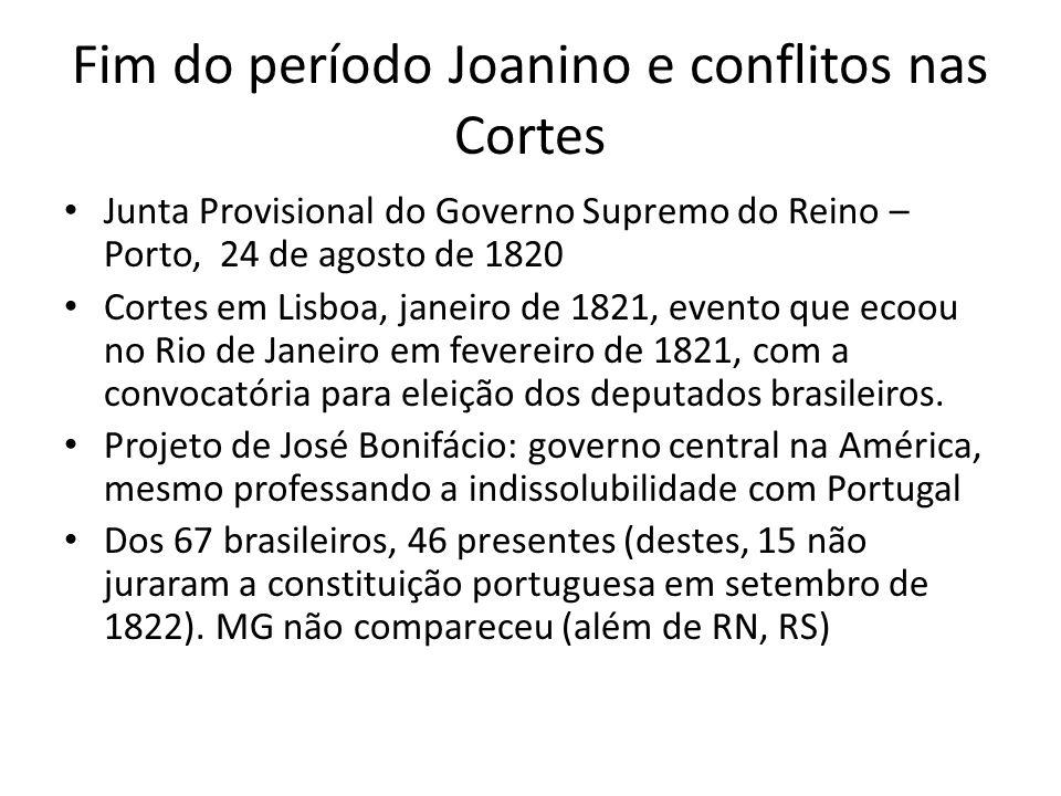 Fim do período Joanino e conflitos nas Cortes Junta Provisional do Governo Supremo do Reino – Porto, 24 de agosto de 1820 Cortes em Lisboa, janeiro de