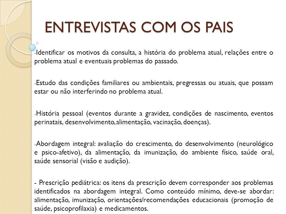 ENTREVISTAS COM OS PAIS - Identificar os motivos da consulta, a história do problema atual, relações entre o problema atual e eventuais problemas do p