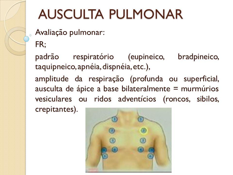 AUSCULTA PULMONAR Avaliação pulmonar: FR; padrão respiratório (eupineico, bradpineico, taquipneico, apnéia, dispnéia, etc.), amplitude da respiração (