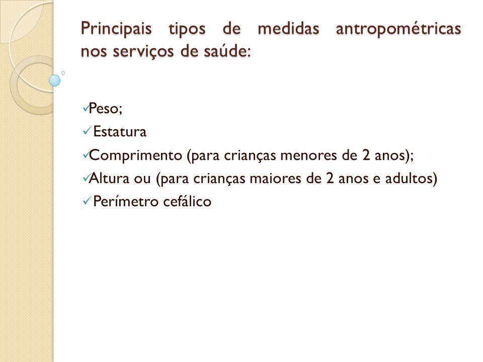 Principais tipos de medidas antropométricas nos serviços de saúde: Peso; Estatura Comprimento (para crianças menores de 2 anos); Altura ou (para crian
