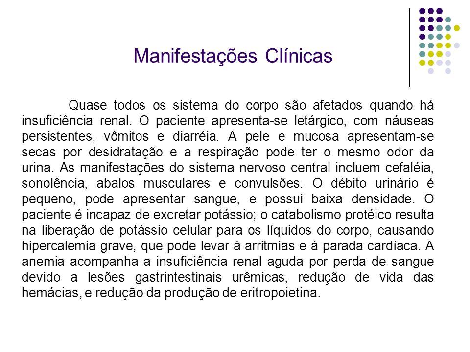 Manifestações Clínicas Quase todos os sistema do corpo são afetados quando há insuficiência renal. O paciente apresenta-se letárgico, com náuseas pers