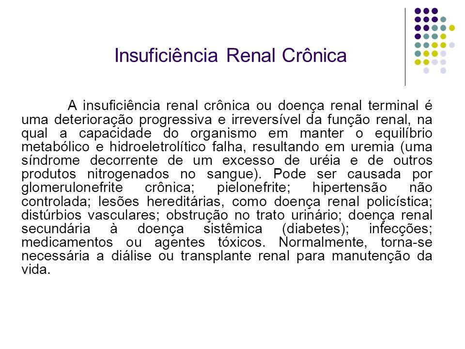 Insuficiência Renal Crônica A insuficiência renal crônica ou doença renal terminal é uma deterioração progressiva e irreversível da função renal, na q
