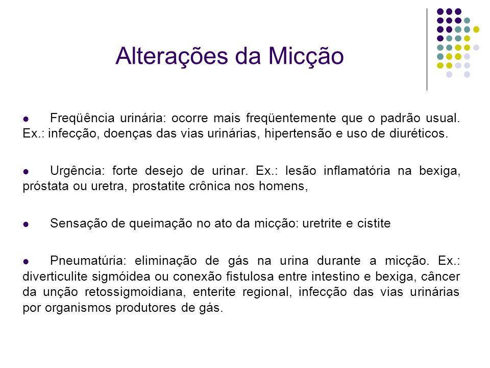 Alterações da Micção Freqüência urinária: ocorre mais freqüentemente que o padrão usual. Ex.: infecção, doenças das vias urinárias, hipertensão e uso