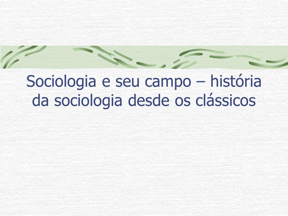 Sociologia e seu campo – história da sociologia desde os clássicos