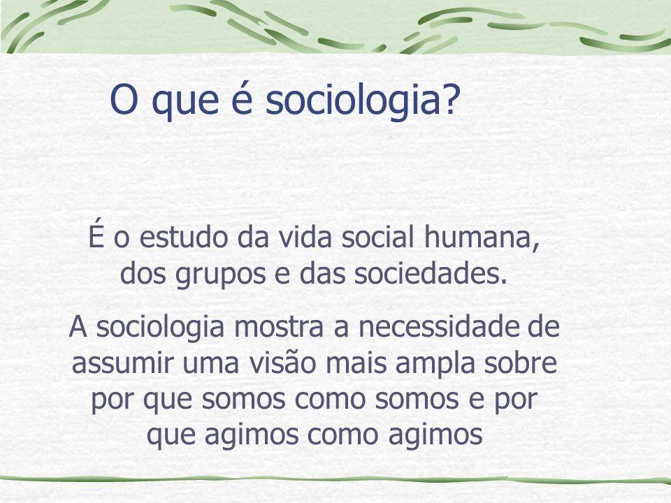 O que é sociologia.É o estudo da vida social humana, dos grupos e das sociedades.