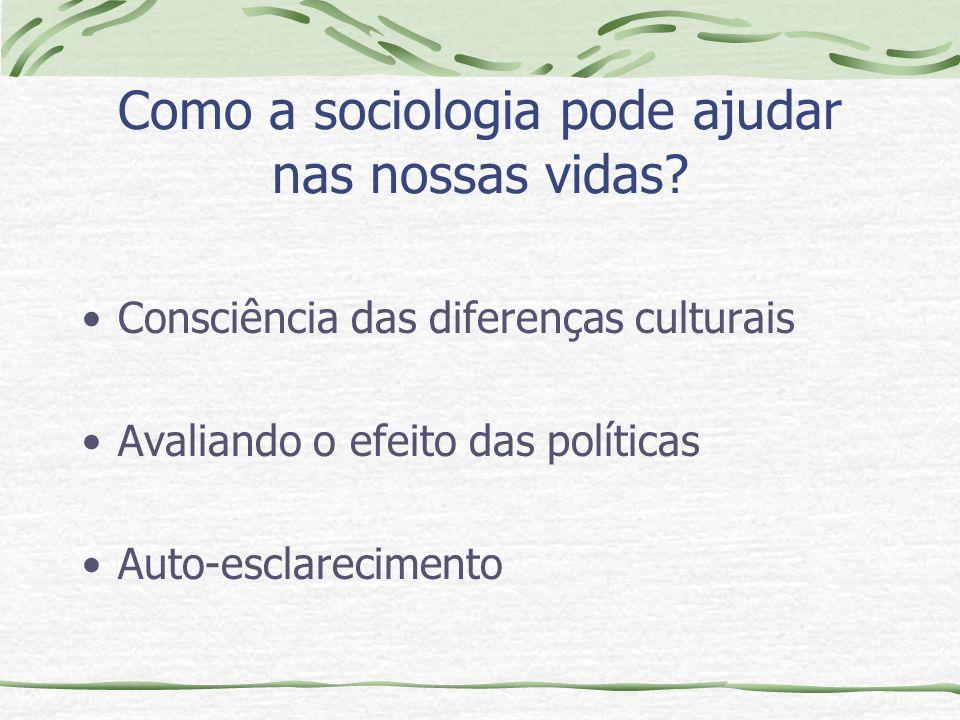 Como a sociologia pode ajudar nas nossas vidas.