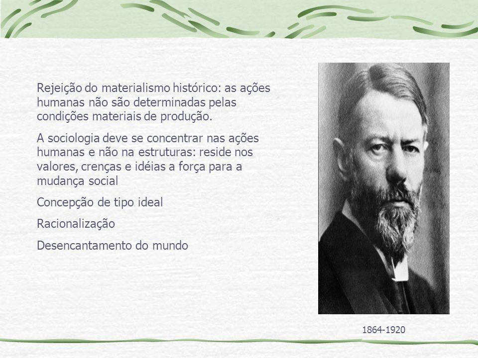 Rejeição do materialismo histórico: as ações humanas não são determinadas pelas condições materiais de produção.