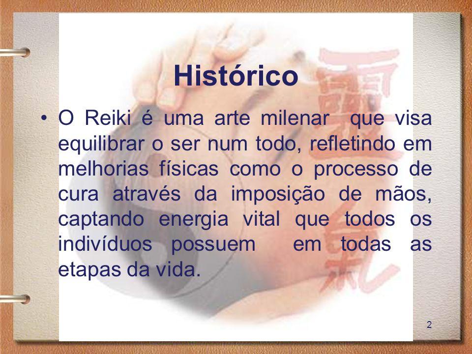 3 Histórico É uma forma de terapia de origem japonesa baseada na manipulação da energia vital (ki) através da imposição de mãos com o objetivo de reestabelecer o equilíbrio vital e, assim eliminar doenças e promover saúde.