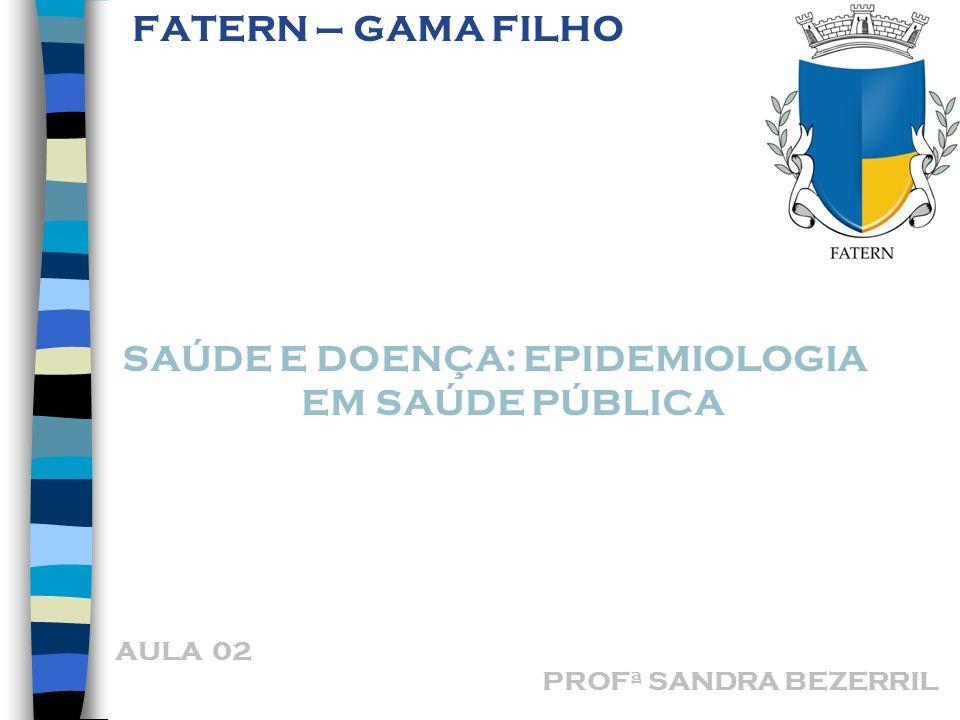 SAÚDE E DOENÇA: EPIDEMIOLOGIA EM SAÚDE PÚBLICA FATERN – GAMA FILHO AULA 02 PROFª SANDRA BEZERRIL