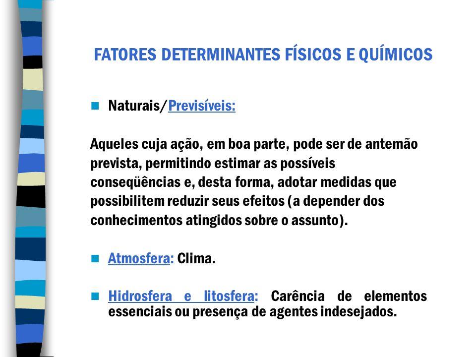 FATORES DETERMINANTES FÍSICOS E QUÍMICOS Naturais/Previsíveis: Aqueles cuja ação, em boa parte, pode ser de antemão prevista, permitindo estimar as po