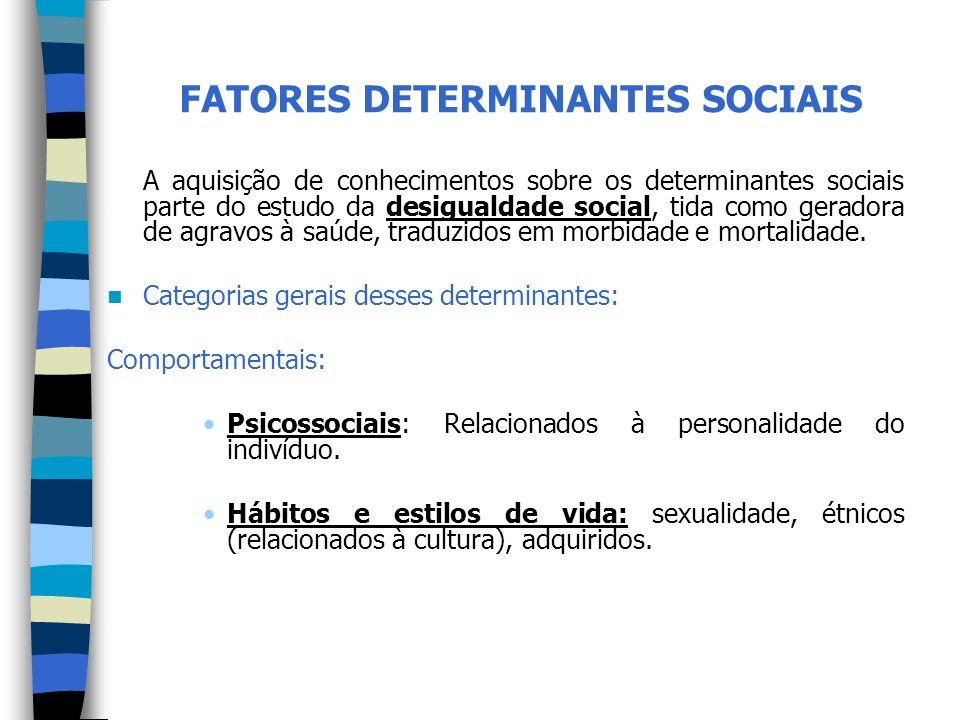 FATORES DETERMINANTES SOCIAIS A aquisição de conhecimentos sobre os determinantes sociais parte do estudo da desigualdade social, tida como geradora d