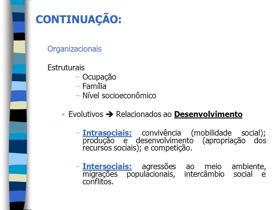 Organizacionais Estruturais –Ocupação –Família –Nível socioeconômico Evolutivos Relacionados ao Desenvolvimento –Intrasociais: convivência (mobilidade