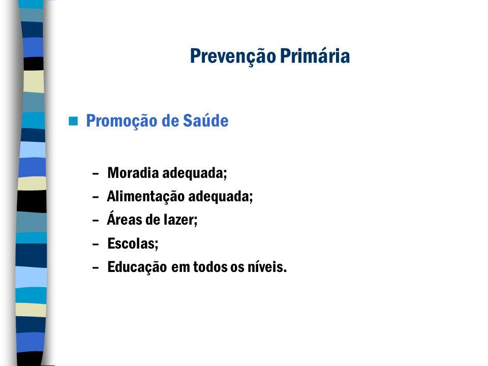 Prevenção Primária Promoção de Saúde –Moradia adequada; –Alimentação adequada; –Áreas de lazer; –Escolas; –Educação em todos os níveis.