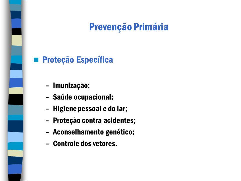 Prevenção Primária Proteção Específica –Imunização; –Saúde ocupacional; –Higiene pessoal e do lar; –Proteção contra acidentes; –Aconselhamento genétic