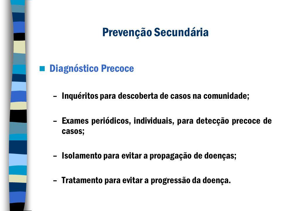 Prevenção Secundária Diagnóstico Precoce –Inquéritos para descoberta de casos na comunidade; –Exames periódicos, individuais, para detecção precoce de