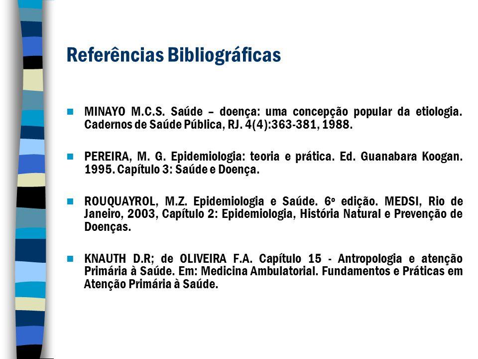Referências Bibliográficas MINAYO M.C.S. Saúde – doença: uma concepção popular da etiologia. Cadernos de Saúde Pública, RJ. 4(4):363-381, 1988. PEREIR