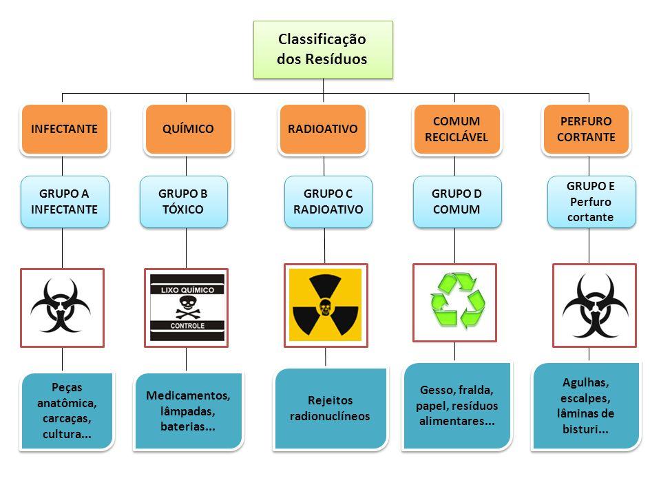 Classificação dos Resíduos Classificação dos Resíduos INFECTANTE QUÍMICO RADIOATIVO COMUM RECICLÁVEL COMUM RECICLÁVEL PERFURO CORTANTE PERFURO CORTANT