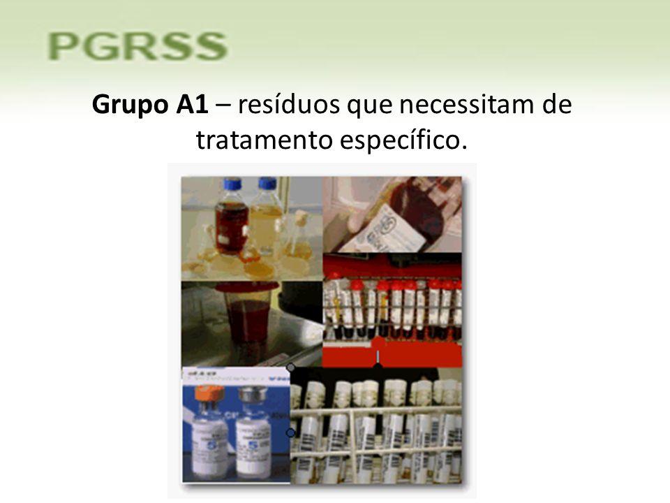 Grupo A1 – resíduos que necessitam de tratamento específico.