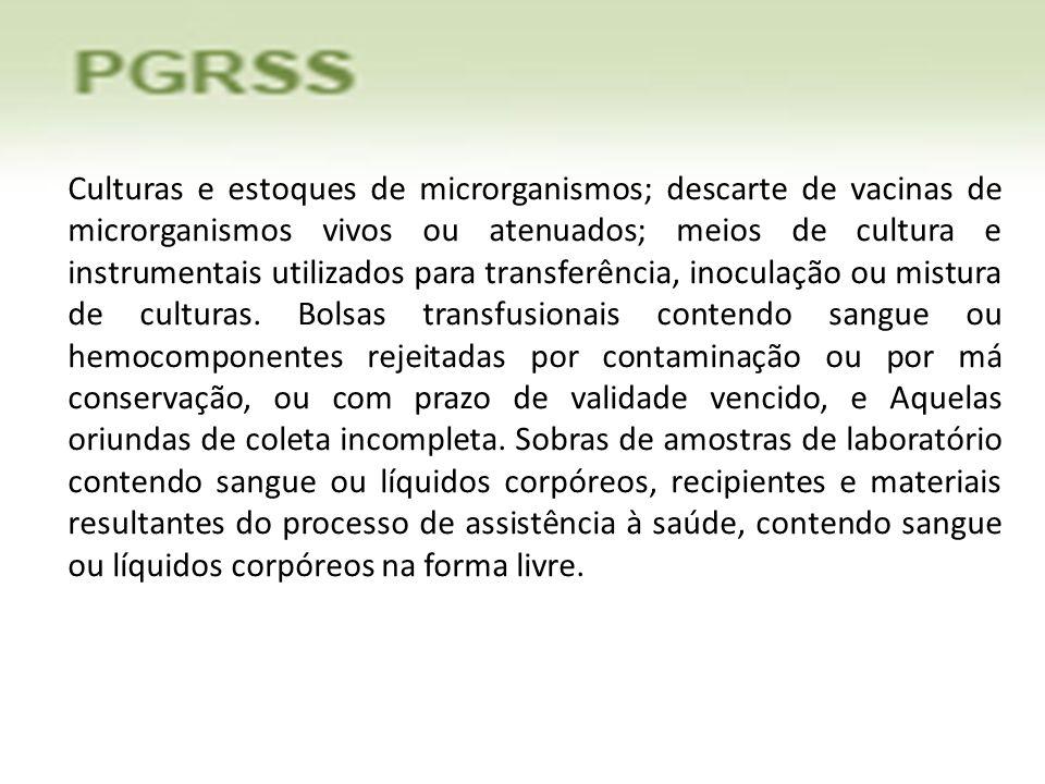 Culturas e estoques de microrganismos; descarte de vacinas de microrganismos vivos ou atenuados; meios de cultura e instrumentais utilizados para tran