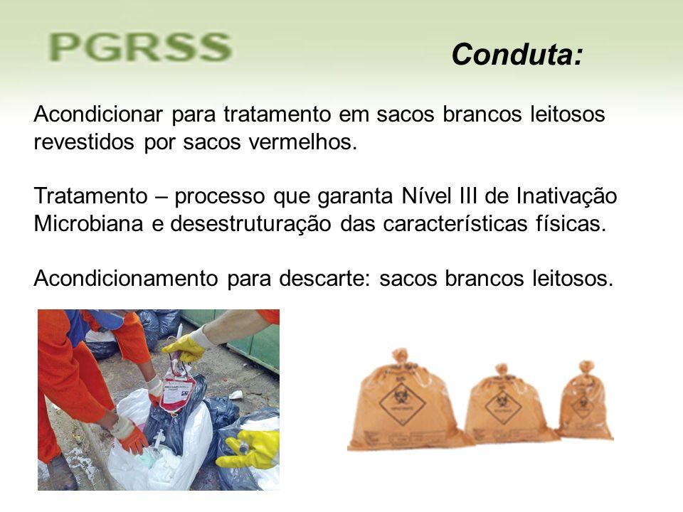 Acondicionar para tratamento em sacos brancos leitosos revestidos por sacos vermelhos. Tratamento – processo que garanta Nível III de Inativação Micro