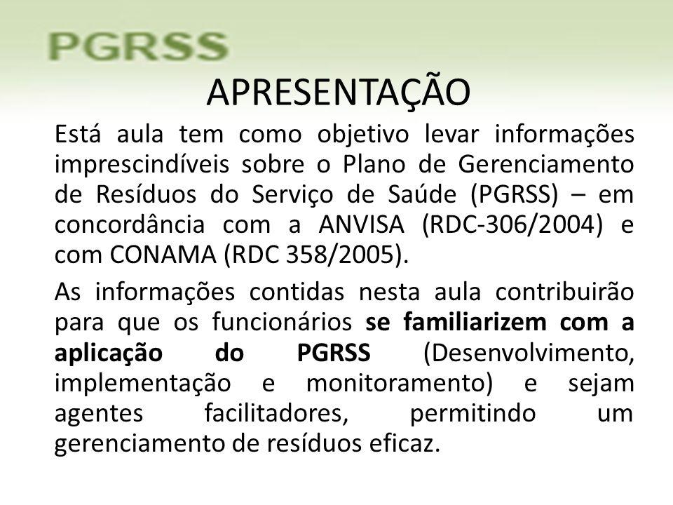 APRESENTAÇÃO Está aula tem como objetivo levar informações imprescindíveis sobre o Plano de Gerenciamento de Resíduos do Serviço de Saúde (PGRSS) – em