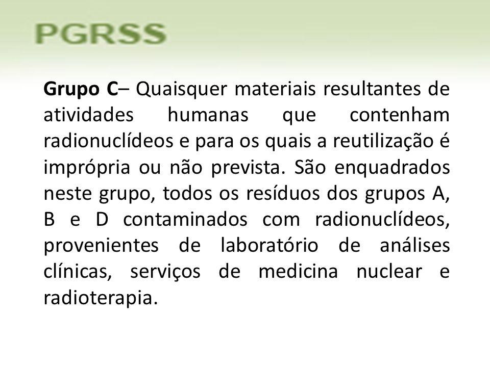 Grupo C– Quaisquer materiais resultantes de atividades humanas que contenham radionuclídeos e para os quais a reutilização é imprópria ou não prevista