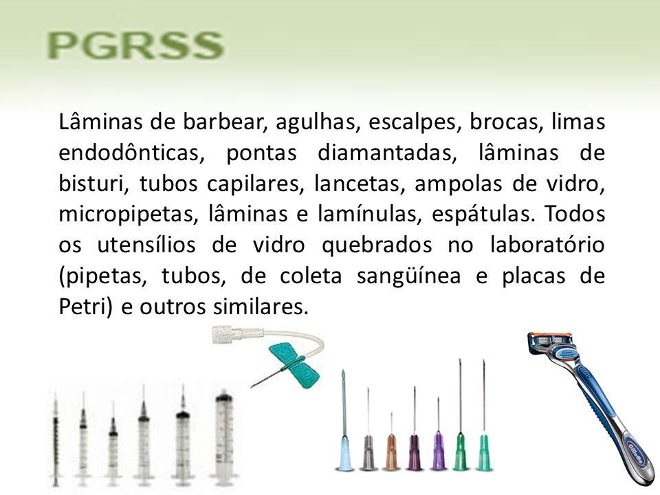 Lâminas de barbear, agulhas, escalpes, brocas, limas endodônticas, pontas diamantadas, lâminas de bisturi, tubos capilares, lancetas, ampolas de vidro