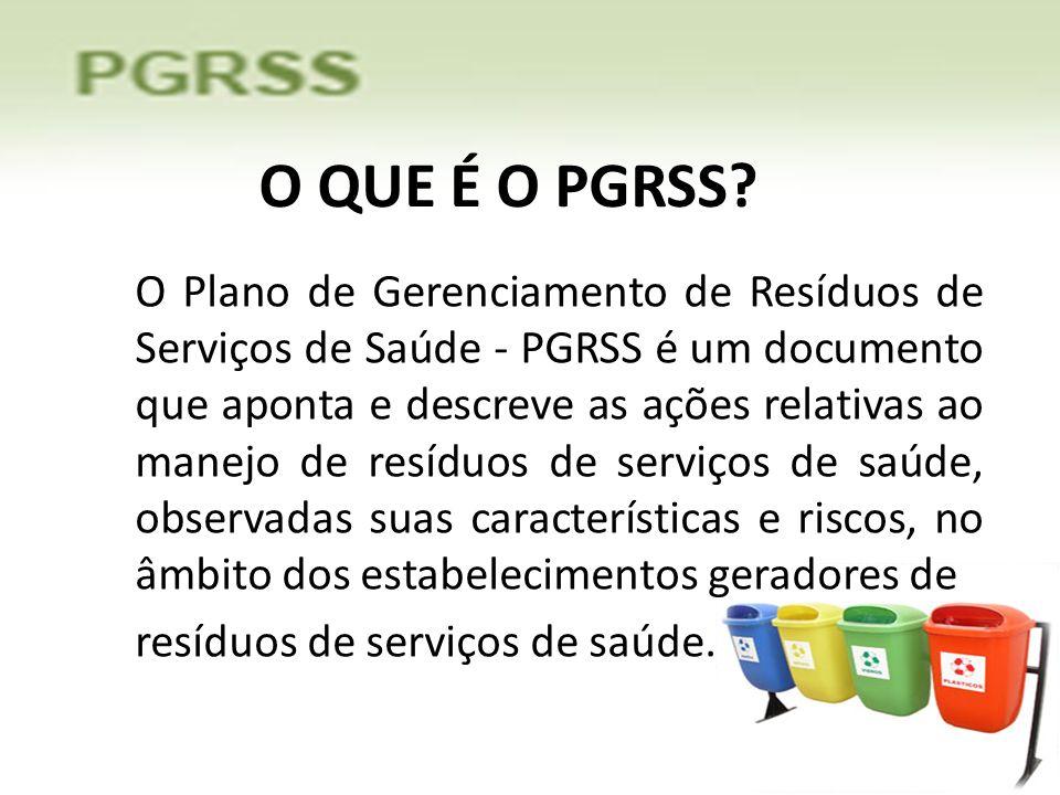 O QUE É O PGRSS? O Plano de Gerenciamento de Resíduos de Serviços de Saúde - PGRSS é um documento que aponta e descreve as ações relativas ao manejo d