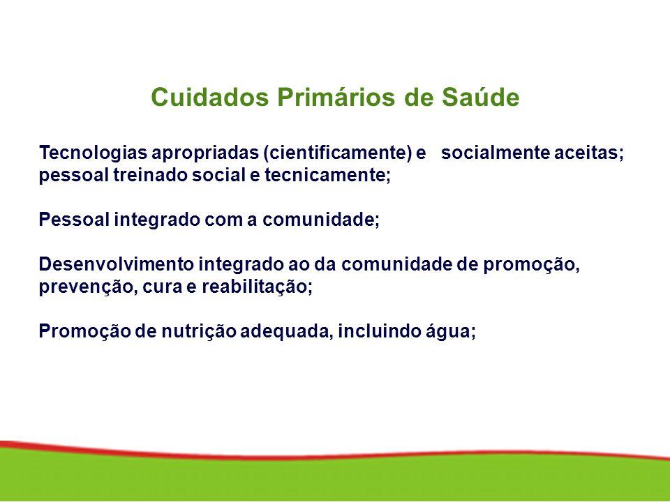 Cuidados Primários de Saúde Tecnologias apropriadas (cientificamente) e socialmente aceitas; pessoal treinado social e tecnicamente; Pessoal integrado