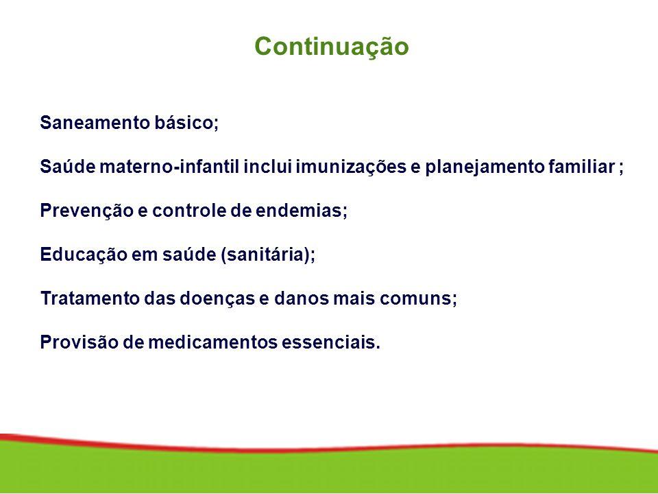 Continuação Saneamento básico; Saúde materno-infantil inclui imunizações e planejamento familiar ; Prevenção e controle de endemias; Educação em saúde