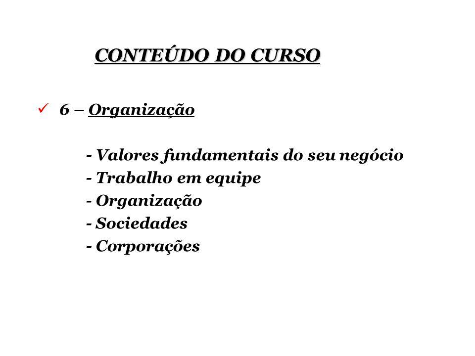 CONTEÚDO DO CURSO 6 – Organização - Valores fundamentais do seu negócio - Trabalho em equipe - Organização - Sociedades - Corporações