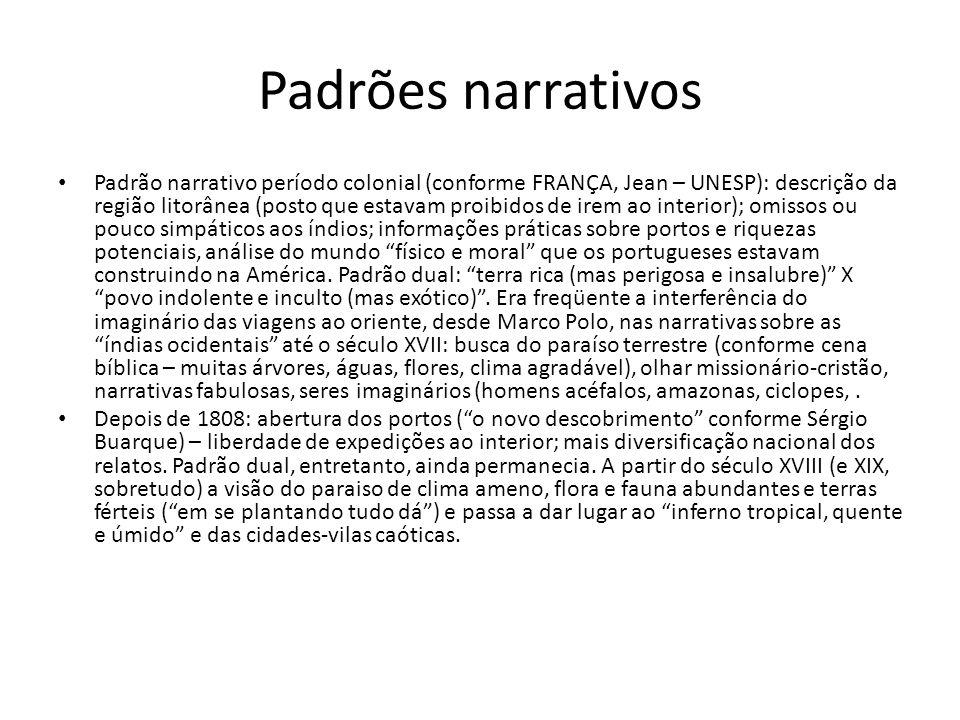 Padrões narrativos Padrão narrativo período colonial (conforme FRANÇA, Jean – UNESP): descrição da região litorânea (posto que estavam proibidos de ir