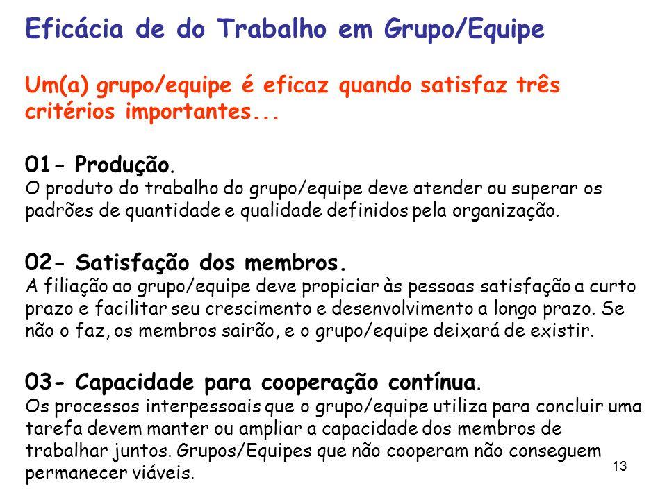 13 Eficácia de do Trabalho em Grupo/Equipe Um(a) grupo/equipe é eficaz quando satisfaz três critérios importantes... 01- Produção. O produto do trabal