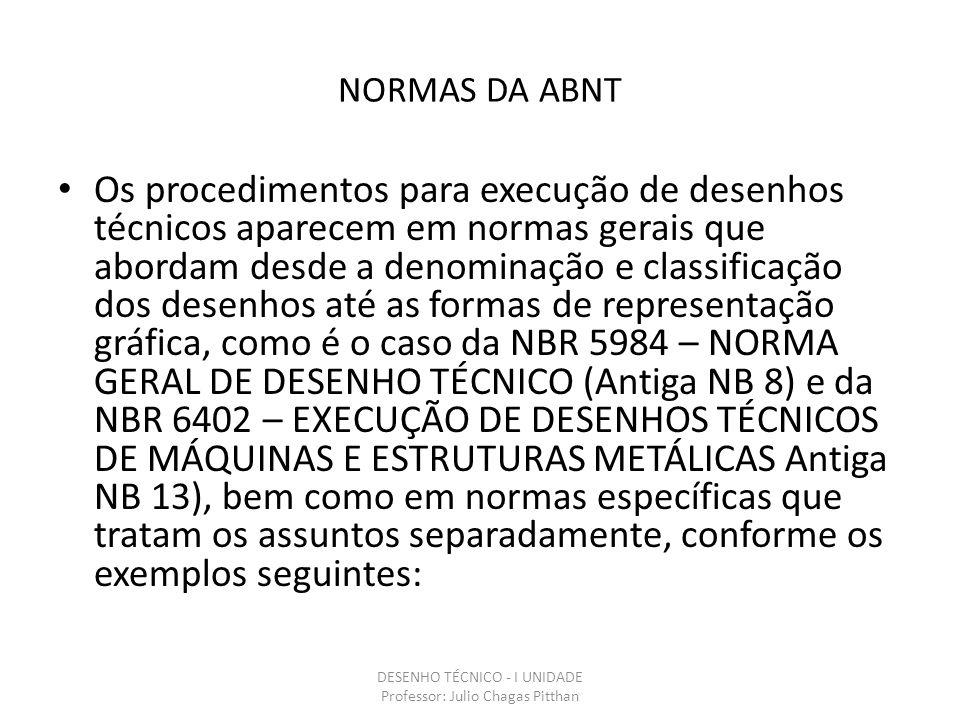 NORMAS DA ABNT Os procedimentos para execução de desenhos técnicos aparecem em normas gerais que abordam desde a denominação e classificação dos desenhos até as formas de representação gráfica, como é o caso da NBR 5984 – NORMA GERAL DE DESENHO TÉCNICO (Antiga NB 8) e da NBR 6402 – EXECUÇÃO DE DESENHOS TÉCNICOS DE MÁQUINAS E ESTRUTURAS METÁLICAS Antiga NB 13), bem como em normas específicas que tratam os assuntos separadamente, conforme os exemplos seguintes: DESENHO TÉCNICO - I UNIDADE Professor: Julio Chagas Pitthan