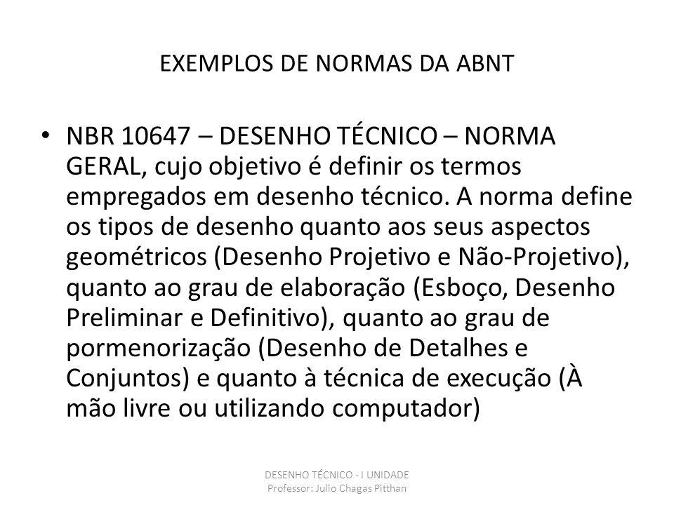 EXEMPLOS DE NORMAS DA ABNT NBR 10647 – DESENHO TÉCNICO – NORMA GERAL, cujo objetivo é definir os termos empregados em desenho técnico.