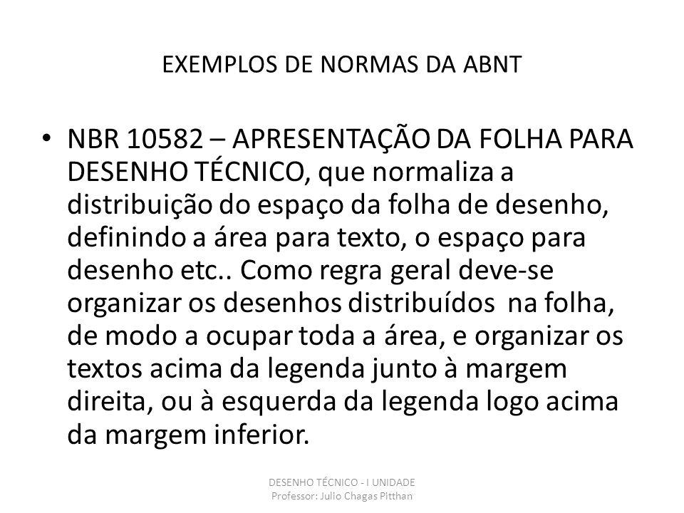 EXEMPLOS DE NORMAS DA ABNT NBR 10582 – APRESENTAÇÃO DA FOLHA PARA DESENHO TÉCNICO, que normaliza a distribuição do espaço da folha de desenho, definindo a área para texto, o espaço para desenho etc..