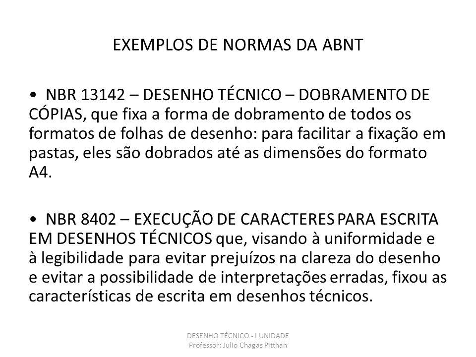 EXEMPLOS DE NORMAS DA ABNT NBR 13142 – DESENHO TÉCNICO – DOBRAMENTO DE CÓPIAS, que fixa a forma de dobramento de todos os formatos de folhas de desenho: para facilitar a fixação em pastas, eles são dobrados até as dimensões do formato A4.