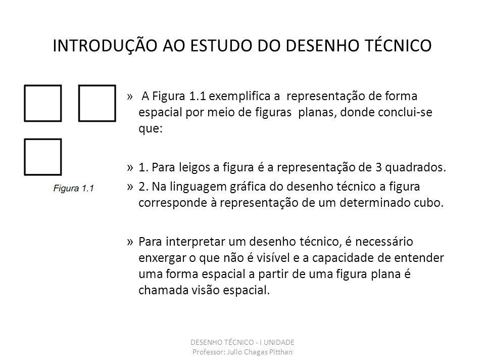 INTRODUÇÃO AO ESTUDO DO DESENHO TÉCNICO » A Figura 1.1 exemplifica a representação de forma espacial por meio de figuras planas, donde conclui-se que: » 1.